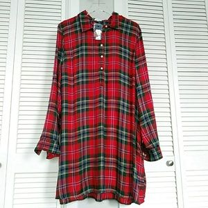 NWT DRESS CROWN & IVY SIZE XL PLAID LIGHT FRESH